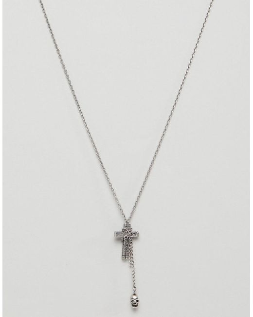 Seven London - Metallic Silver Necklace With Cross & Skull Charm for Men - Lyst
