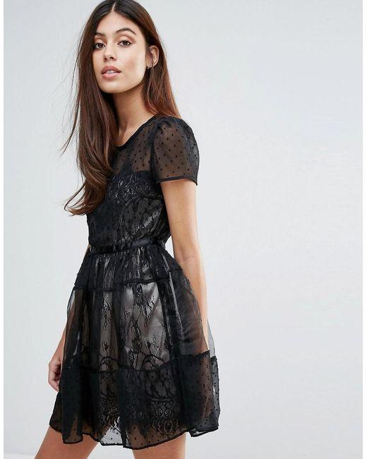 Zibi London | Black Organza Tiered Short Sleeve Dress | Lyst