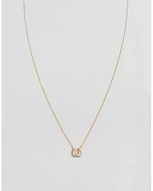 ASOS - Metallic Necklace With Crystal Horseshoe Pendant In Gold - Lyst