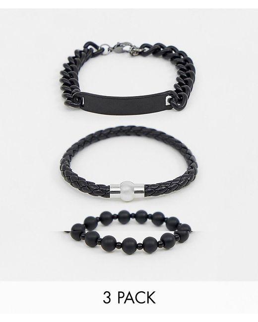 ASOS - Chain And Bead Bracelet Pack In Matte Black for Men - Lyst