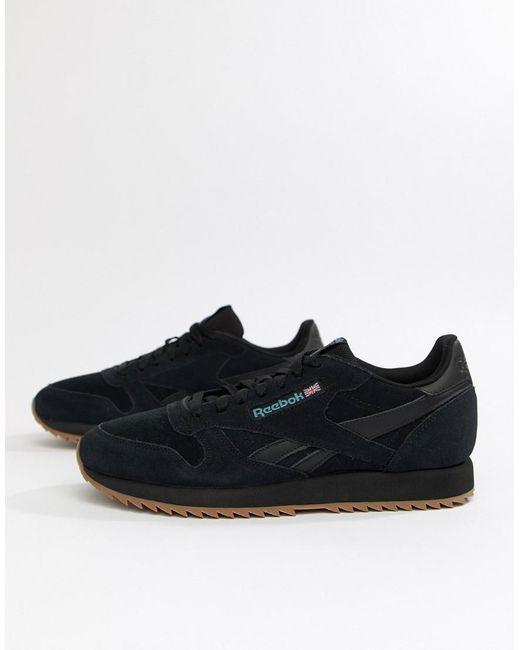 Reebok Cl Suede Mu Ripple Sneakers Triple Black in Black for Men - Lyst 06fe4b2e4b17