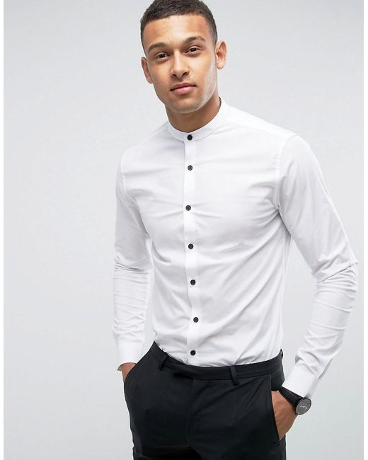 ASOS - Skinny Shirt In White With Grandad Collar And Contrast Buttons for  Men - Lyst ...