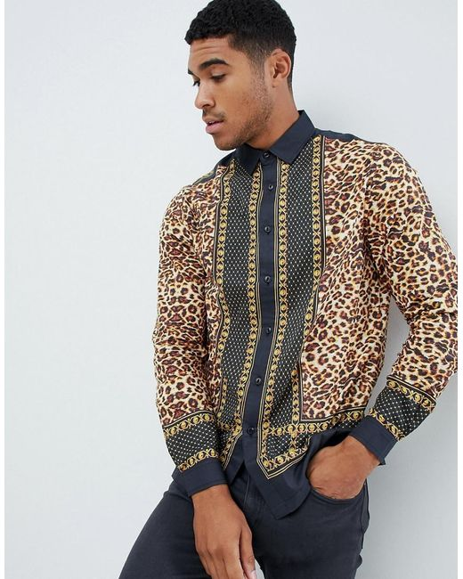 e7a187c2a8d1 ASOS - Black Regular Fit Leopard Border Print Shirt In Cotton for Men - Lyst  ...