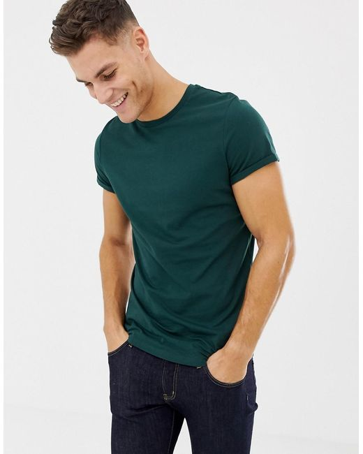 1a375e563 ASOS T-shirt With Crew Neck And Roll Sleeve In Green in Green for ...