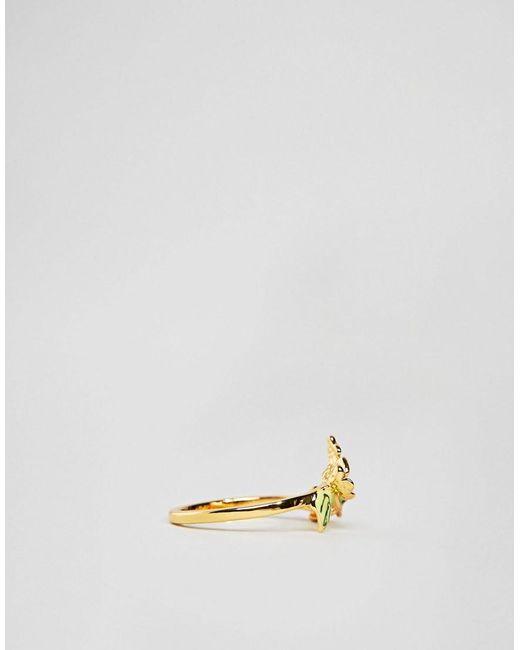 Gold Plated Enamel Butterfly Ring - Gold Bill Skinner FheUer