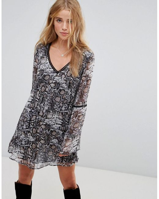 Wyldr - Multicolor Show Me The Way Snake Charmer Printed Tea Dress With Trim Inserts - Lyst