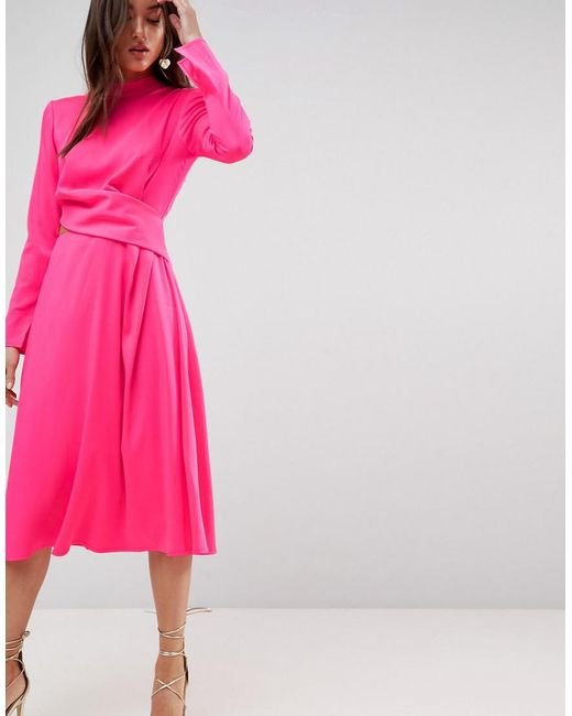 ASOS DESIGN - Pink Asos Cut Out Midi Dress - Lyst