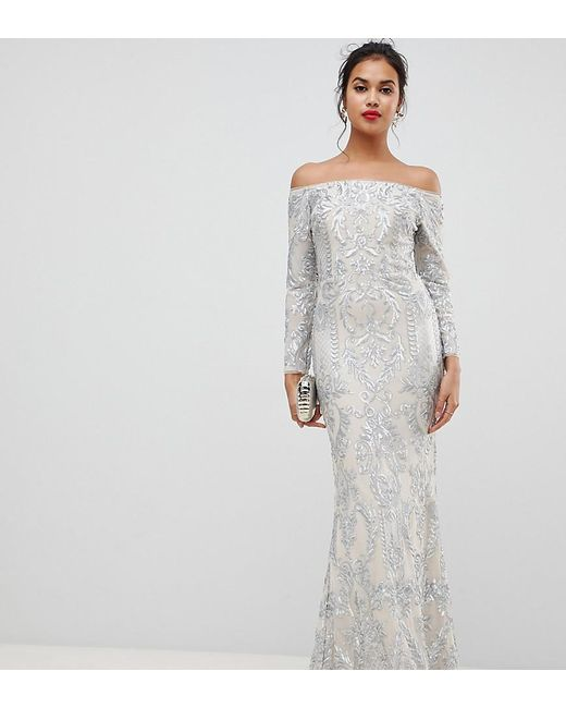 be923980 Bariano - Metallic Embellished Patterned Sequin Off Shoulder Maxi Dress In  Silver - Lyst ...