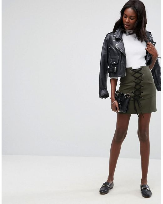 ASOS - Green Mini Skirt With Lace Up Corset Detail - Lyst