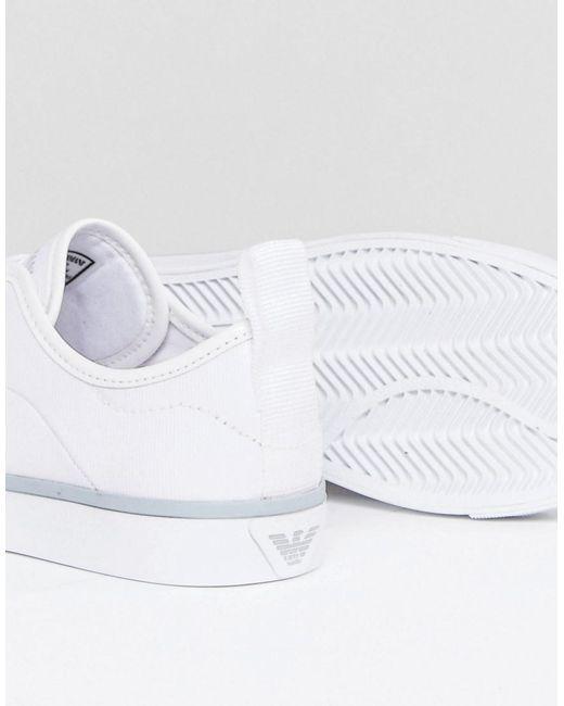 Denim Side Eagle Logo Lace Up Plimsoll - White Emporio Armani gb1qVJ7F