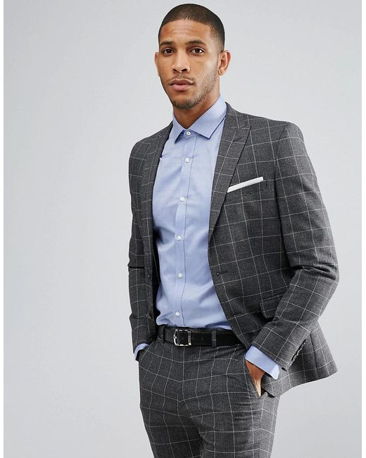 Moss Bros Gray London Skinny Suit Jacket In Check For Men Lyst