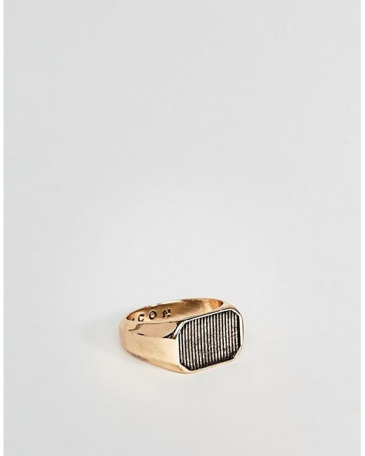 Icon Brand | Metallic Serrated Signet Ring In Antique Gold for Men | Lyst