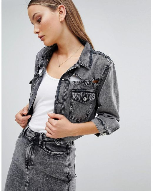 Women's Black Cropped Acidwash Denim Jacket With Rips by Diesel