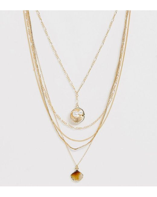 ASOS Metallic Asos Design Curve Multirow Necklace With Sea Shell Pendants And Mixed Chains In Gold