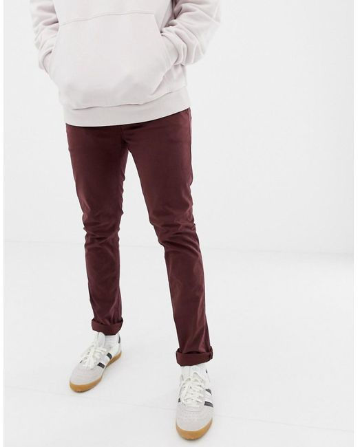 38457a5a694 Nudie Jeans - Purple Co Slim Adam Chinos In Plum for Men - Lyst ...