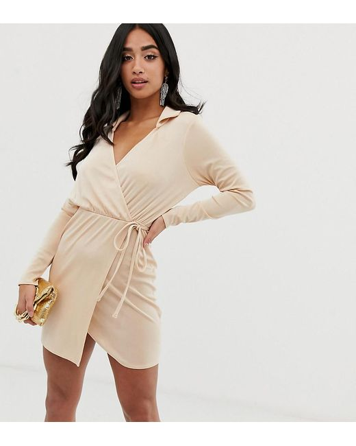 6c595441647e2 ASOS - White Asos Design Petite Slinky Wrap Mini Dress With Collar - Lyst  ...