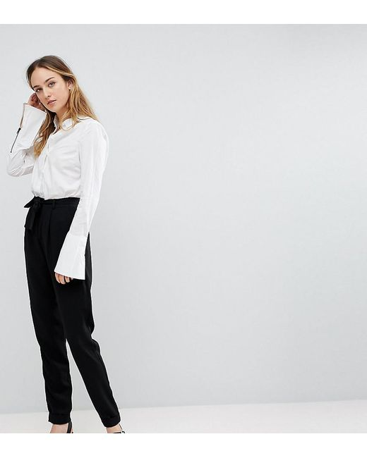 ASOS - Black Asos Design Tall Woven Peg Trousers With Obi Tie - Lyst