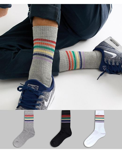 ASOS - Blue Sports Style Socks With Glitter Rainbow Stripes 3 Pack for Men - Lyst