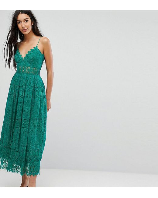 Asos Lace Cami Midi Prom Dress In Green Lyst