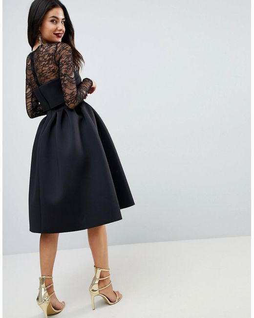 Lyst - Asos Lace Long Sleeve Crop Top Prom Dress in Black