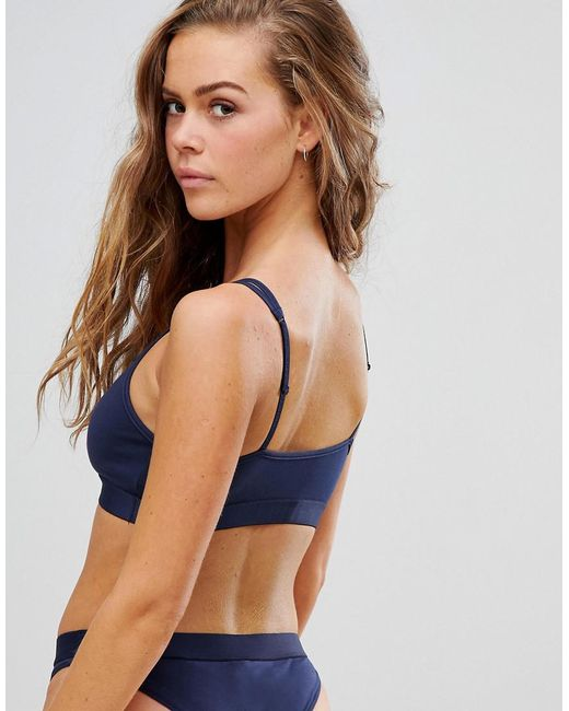 0377e104f9eef ... Tommy Hilfiger - Blue Flag Cotton Bralette - Lyst