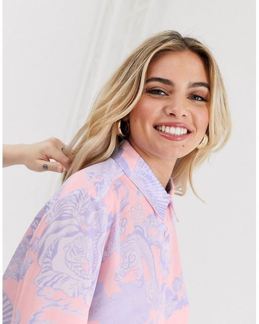 los angeles official images wide varieties ASOS Long Sleeve Oversized Satin Shirt In Dragon Print in ...