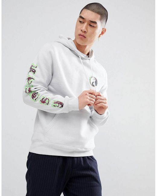 Stussy - White Hoodie With Yin Yang Fire Print In Fog for Men - Lyst ...