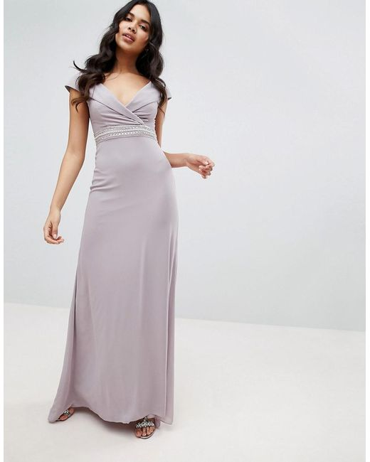 2f9154393af TFNC London - Gray Bardot Maxi Bridesmaid Dress With Fishtail And  Embellished Waist - Lyst ...
