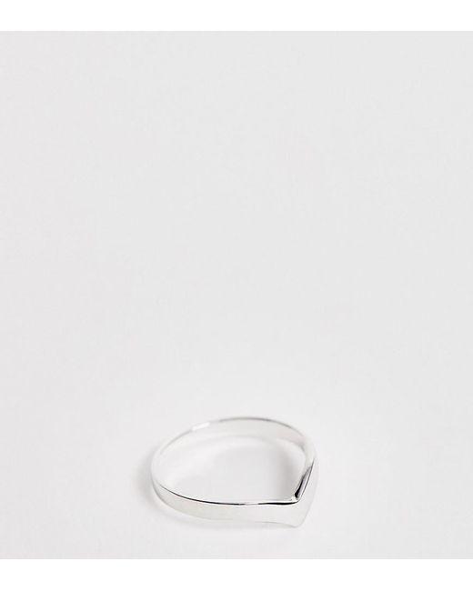 ASOS Metallic Asos Design Curve Sterling Silver Ring In V Shape