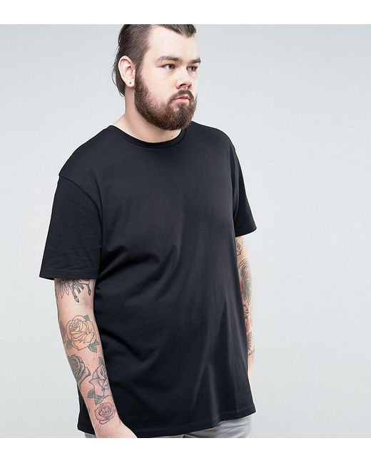 ASOS | Black Plus Longline T-shirt With Crew Neck for Men | Lyst