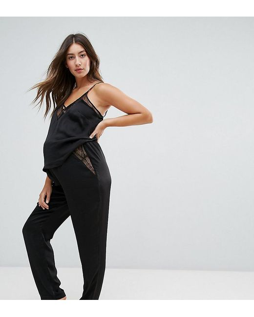 New Look | Black Lace Pajama Bottoms | Lyst