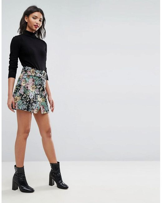ASOS   Multicolor Mini Skirt In Floral Jacquard With Belt   Lyst