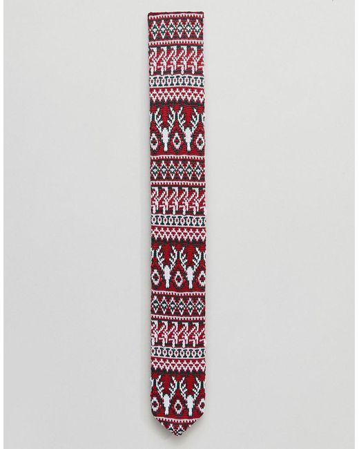 Lyst - Asos Christmas Knitted Fairisle Tie in Red for Men