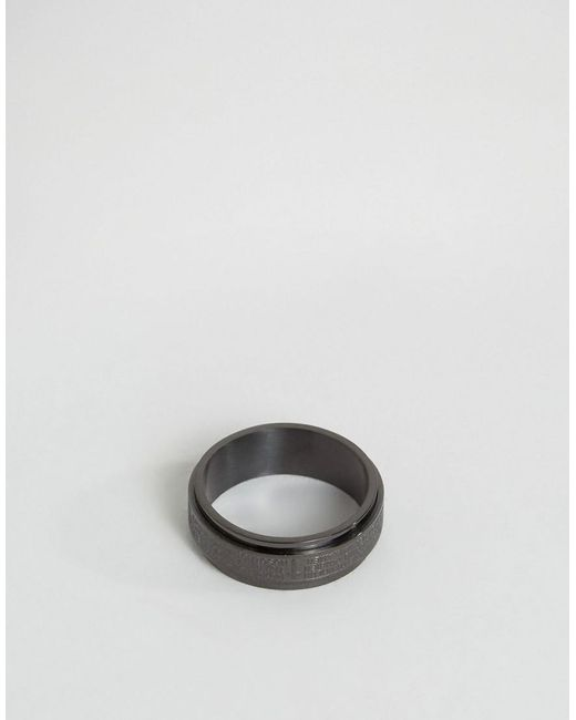 Seven London - Cross Band Ring In Black Exclusive To Asos for Men - Lyst