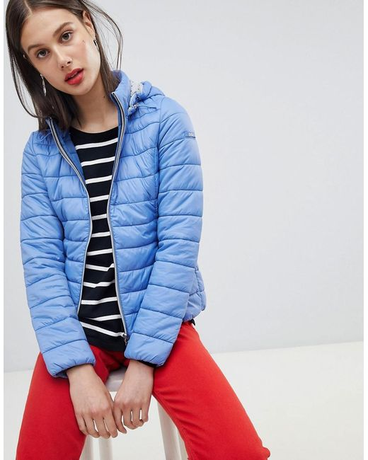 Esprit - Blue Short Padded Jacket With Hood - Lyst