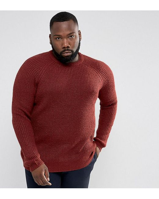 D-Struct - Red Plus Chunky Ribbed Crew Neck Jumper for Men - Lyst