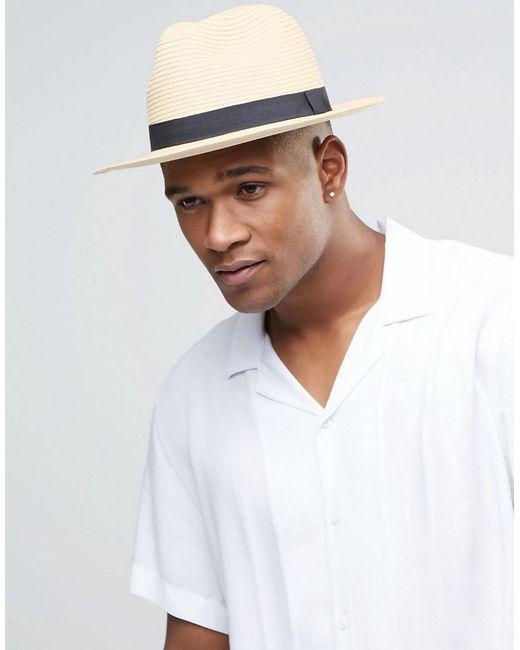 d08204d934 ASOS - Natural Straw Fedora Hat In Beige for Men - Lyst ...