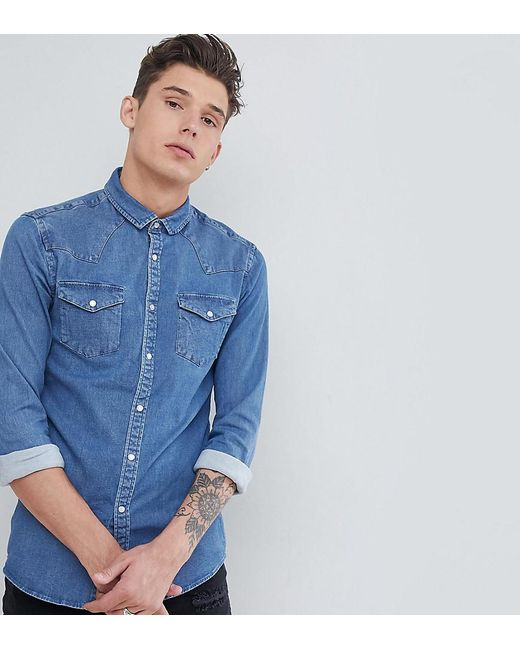 4f18a5d385 ASOS - Blue Tall Skinny Western Denim Shirt In Mid Wash for Men - Lyst ...