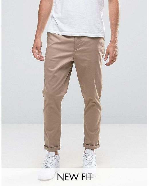 54b53773d65a5e ASOS - Natural Tapered Chinos In Stone for Men - Lyst ...