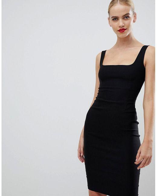 8127bc3a87 Vesper Square Neck Pencil Dress In Black in Black - Lyst
