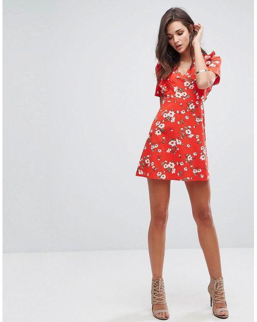 Tea Dress In Floral Print - Red Fashion Union QG2hKPu