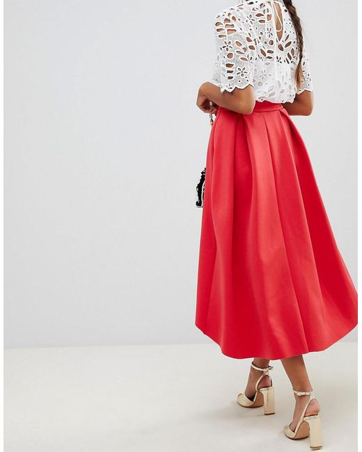 89b409b2a ... ASOS - Red Midi Scuba Prom Skirt With Bow Front - Lyst