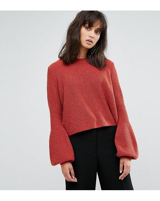Weekday - Red Crop Knit Jumper With Baloon Sleeve - Lyst