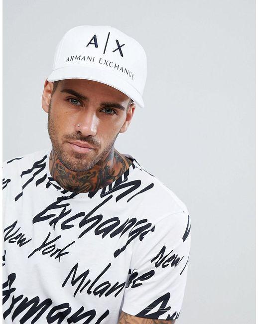 Armani Exchange - Ax Logo Baseball Cap In White for Men - Lyst