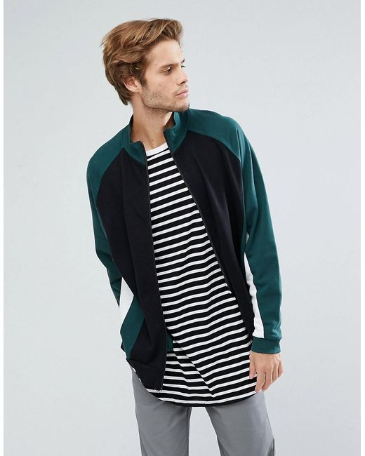 ASOS - Black Oversized Cut & Sew Track Jacket for Men - Lyst