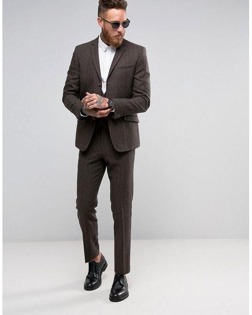 Asos Slim Suit Jacket In Brown Herringbone in Brown for Men   Lyst