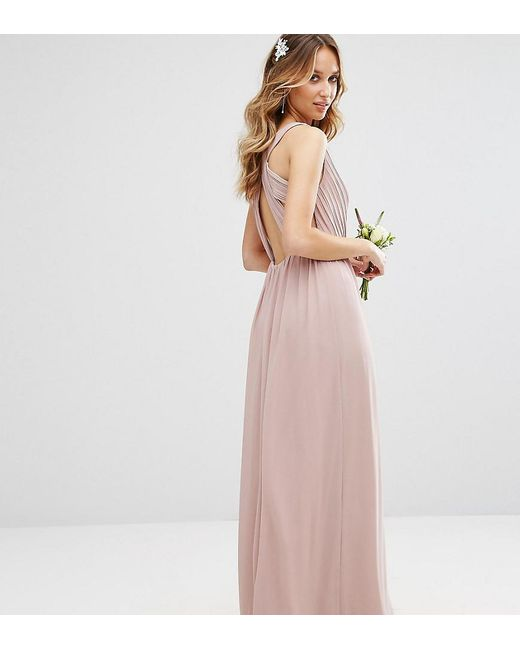 Lyst - Tfnc London Wedding Pleated Maxi Dress With Back Detail in Pink