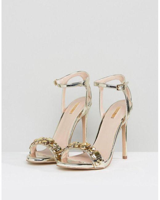 Gail Rose Gold Embellished Heeled Sandals - Gold Carvela ETclMhrN7