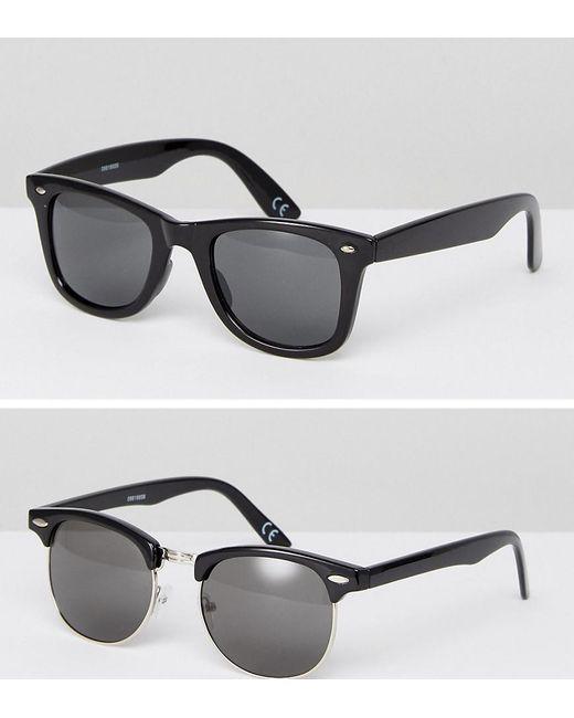 ASOS | 2 Pack Square & Retro Sunglasses In Black Save for Men | Lyst
