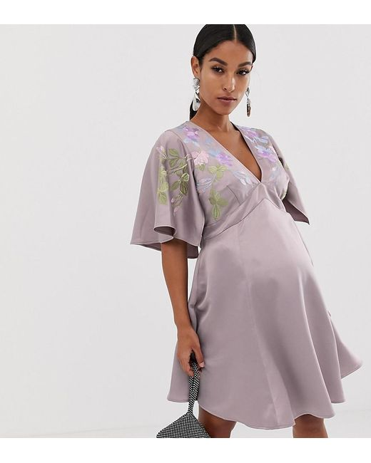 bd023538fd4 ASOS - Purple Asos Design Maternity Cape Sleeve Embroidered Mini Dress -  Lyst ...